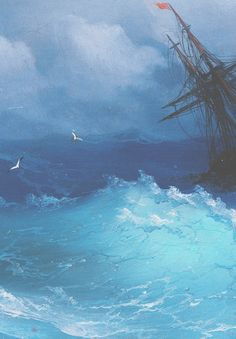 Ivan Aivazovsky,Ship on Stormy Seas (detail). Incredible mastership in sea depiction. #knowledge