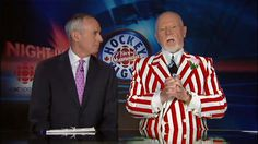 Hockey Night in Canada Don Cherry, Hockey Pictures, Hockey Boards, Hockey Rules, Toronto Maple Leafs, Sharp Dressed Man, Nhl, The Man, Men Dress
