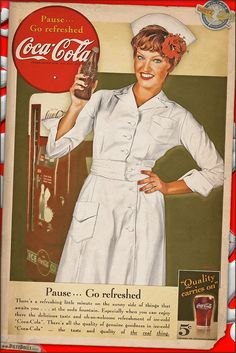 Today's airbrushed style pinup photo is another original-recreation of the classic Coca Cola ads of the 1940s with Nurse Anna. Military personnel were often featured prominently, especially women in the military, during WW2 in Coca Cola ads. WAC, WAVES, SPARS, USMC Women's Reserve, WASP, Nurse, etc were all used in Coca Cola ads during the time, often taking a 'pause' from the war to 'refresh' with a nice ice-cold Coca Cola.