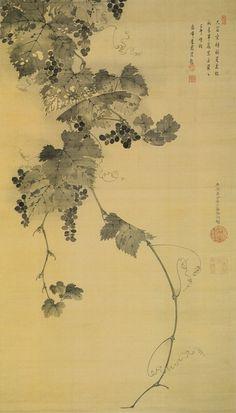 (Japan) Grapes Vine by Ito Jakuchu Japan. Korean Painting, Chinese Painting, Chinese Art, Japan Painting, Ink Painting, Watercolor Art, Japanese Art Styles, Japanese Prints, Art Chinois