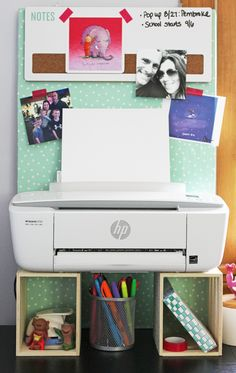 DIY Printer Stand and Bulletin Board under $10! GinaKirk.com