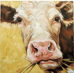 Cow Painting 8x8 inch original impressionistic oil by LaveryART