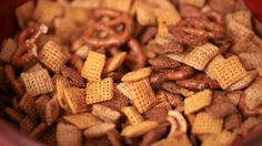 Baked Homemade Chex Mix   2 cups (30 g) Corn Chex cereal  2 cups (30 g) Rice Chex cereal  2 cups (30 g) Wheat Chex cereal  1 cup (30 g) pretzel twists  ⅔ cup (100 g) cashews  ½ cup (75 g) dry roasted peanuts  ¼ cup (60 g) butter or margarine, melted  ¼ cup (60 mL) Worchestershire sauce  1½ tablespoons (22.5mL) garlic powder  1 tablespoon (15 mL) onion powder  1¼ teaspoon (6.25 mL) salt  ½ teaspoon (2.5 mL) black pepper  Directions on website...