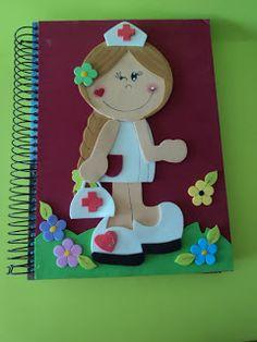 Ateliê Fazendo Arte: Caderno Decorado Enfermeira c/ Molde