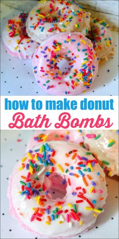 You don't need to spend a lot of money for fancy bath bombs. You can just make them at home for a fraction of the cost. Learn how to make donut bath bombs that look just like the real thing! Diy Bath Bombs Easy, Homemade Bath Bombs, Diy Donuts, Homemade Donuts, Kid Friendly Baths, Birthday Present Diy, Birthday Presents, Birthday Cakes, Christmas Bath Bombs
