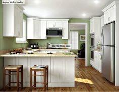KCK cabinetry - Ice White Shaker Kitchen Cabinets by Kitchen Cabinet Kings - Buy Kitchen Cabinets Online and Save Big with Wholesale Pricing! Kitchen Units, Diy Kitchen Cabinets, Buy Kitchen Cabinets Online, Assembled Kitchen Cabinets, White Shaker Kitchen, Cheap Kitchen Cabinets, Buy Kitchen Cabinets, Kitchen Layout, Kitchen Design