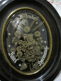 Antique Victorian 19 Century Hair Art Mourning in Memory | eBay