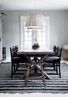 Tine K Home Striped Pendant, bamboochairs and mega striped rug phantom/grey