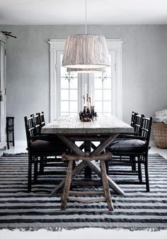 Tine K Home Striped Pendant, bamboochairs and mega striped rug phantom/grey