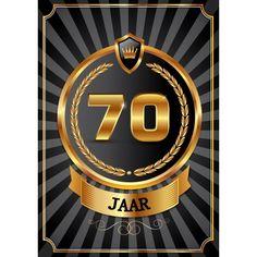 70 jaar deurposter luxe. Mooie deurposter 70 jaar, zwart met goud kleur. Deze poster kunt u op het raam of op de deur hangen. Afmeting: A2 formaat, ongeveer 59 x 42 cm.