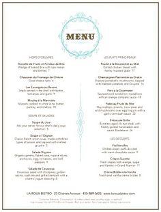 Customize French Restaurant Menu