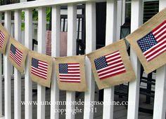DIY Burlap Flag Banner...so patriotic for July 4th., Memorial Day, or just all summer long!!