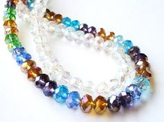 Multi Color Or Clear  AB  Faceted Crystal Rondelle by BijiBijoux, $