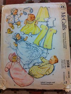 McCall's 2318 vintage baby layette sewing pattern