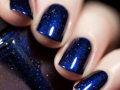 Looking Up Midnight Blue Holographic Nail Polish by ilnpbrand Blue And Silver Nails, Blue Gel Nails, Navy Blue Nails, Navy Blue Nail Polish, Cute Nails, Pretty Nails, Nail Lacquer, Holographic Nail Polish, Dipped Nails