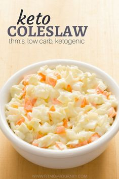 This sugar-free, easy, creamy Keto Coleslaw will have you never wanting to go back to the sugar-laden stuff again. Try it on the side of pulled pork, hot dogs, or hamburgers! #lowcarddiet #sugardetoxdiet