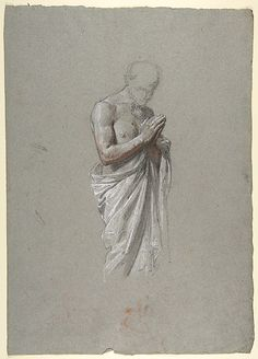 Study for Clovis (middle register; study for wall paintings in the Chapel of Saint Remi, Sainte-Clotilde, Paris, 1858)  Isidore Pils  (French, Paris 1813/15–1875 Douarnenez)    Date:      19th century  Medium:      Black, white, and red chalk on gray paper  Dimensions:      17 7/8 x 12 5/8 in.