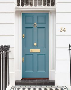 This striking blue Georgain door exudes beauty, painted in the unique shade, Cornflower. Eye-catching and extremely elegant, this front door will add kerb appeal to any home. Exterior Door Colors, Front Door Paint Colors, Exterior Front Doors, Painted Front Doors, Front Door Design, Blue Front Doors, Georgian Doors, Victorian Front Doors, House Front Door