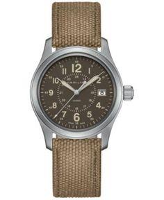 Hamilton Men's Swiss Khaki Field Beige Canvas Strap Watch 38mm H68201993 - Brown