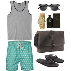 """Mens wear on the Beach"" by zerouv on Polyvore: Indie Half Frame Horned Rim Clubmaster Wayfarer Sunglasses 2934"