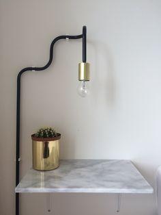 DIY Sänglampor och marmor sängbord