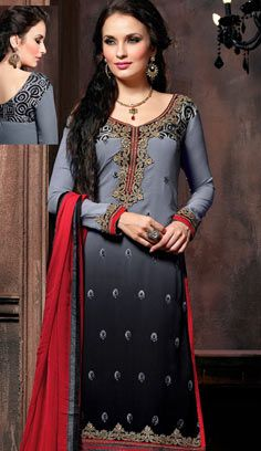 Beautiful Latest Grey Georgette A Line Suit