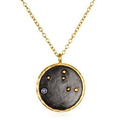 "The perfect fit for the protective Virgo, set on a fine gold chain, this constellation necklace from Satya Jewelry features an unique pendant adorned with a micro-sapphire gemstone. 18k gold and gunmetal plated brass. 18""."