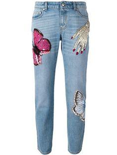 Shop Roberto Cavalli embroidered birds  jeans.