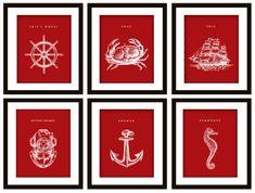 6 #Nautical #Art Prints ANY color: Anchor, Crab, Ship Wheel, Scuba Helmet, Seahorse by PrintsofBeauty, $25.00 @Etsy