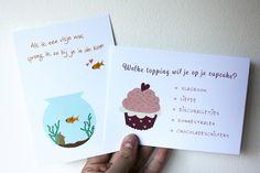 Kaarten set, samenwerking met Kleine gelukjes, wenskaarten, liefdeskaarten, visjes, cupcakes, grappige kaart door JolisMots op Etsy
