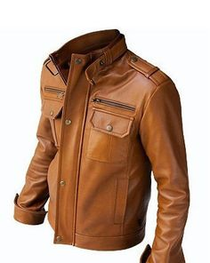 The Maverick - Men&39s Brown Leather Jacket - Jean Jacket style