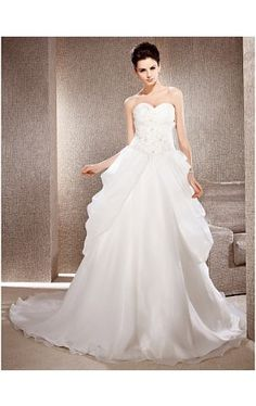 A-line Strapless Organza Wedding Gown With Chapel Train