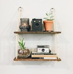 This 2 tier hanging shelf is perfect for those looking to add a rustic modern bohemian touch to their home. This minimalist shelf is handcrafted in Colorado Springs with stain (not used for the natural wood option) and natural materials. two tier hanging Modern Bohemian, Bohemian Decor, Modern Rustic, Hanging Rope Shelves, Ikea, Towel Storage, Extra Storage, Rope Crafts, Boho Bathroom