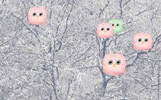 Skrivebordsbakgrunn: Tøybleieugler i skogen / Cloth diaper owls in the woods I Wallpaper, Cloth Diapers, Owls, Snowman, Disney Characters, Silver, Pink, Free, Owl
