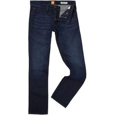 Hugo Boss Orange 24 Regular Fit Dark Wash Jeans (190 CAD) ❤ liked on Polyvore featuring men's fashion, men's clothing, men's jeans, men jeans, mens regular fit jeans, mens dark denim jeans, mens dark wash jeans, mens dark jeans and mens jeans