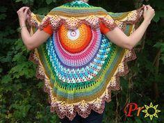 Netopýrum SPECTRANS Not the pattern but the colours! Crochet Shawl, Knit Crochet, Crochet Vests, Crochet Tops, Crochet Designs, Crochet Patterns, Unique Costumes, Poncho Shawl, Crochet Clothes