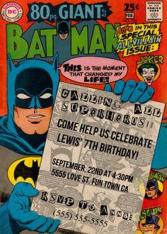 Custom comic book style batman invitations ! https://www.facebook.com/FunandCustomInvitation