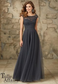 Mori Lee Tulle Affairs 111 Lace V Back Bridesmaid Gown