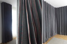Elodie Blanchard Curtain - Grey felt accordion with red embroidery