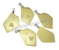 Edelstahl Schmuck Anhänger, Spielkarte, plattiert, mit Strass & zweifarbig, 23x46x3mm, Bohrung:ca. 4x8mm, 10Stücke/Pack, verkauft von Pack - perlinshop.com