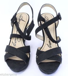American-Rag-Rachey-Women-Strappy-Wedge-Sandal-OpenToe-Shoes-Black-Size-10M-W343