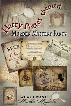 Harry Potter Party Games, Harry Potter Day, Harry Potter Halloween, Harry Potter Birthday, Harry Potter School, Mystery Dinner Party, Dinner Party Games, Mystery Parties, Dinner Themes