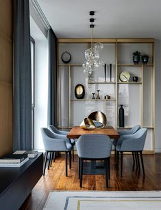 """Dining Room in """"RedSide Apartments"""" by Ab-architects Traditional Home Offices, Traditional Dining Rooms, Traditional Kitchens, Traditional Bedroom, Modern Contemporary Living Room, Living Room Modern, Contemporary Kitchens, Living Rooms, Modern Art Deco"""