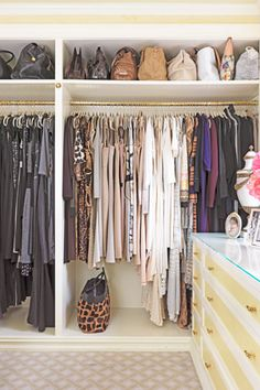 Color Coordinated Closet ~ All of my clothes are hung in color groups and it makes it so much easier to find things when you are looking for them! Did this with my girls' closets, too!