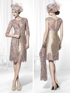 Fashion Knee Length Mother Of The Bride Dresses With Lace Jacket Champagne Satin Jewel Neck Half Sleeves Formal Mother Dresses For Weddings Mothers Dresses Wedding Mothers Of Groom Dresses From One Stopos, $116.59| Dhgate.Com