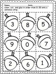 Acorns Sequencing - Numbers 0-20 and Number Words zero-ten - Provides for differentiation with different levels - Great for math centers - kindergarten and first grade math $