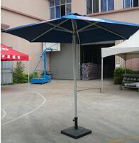 Round Aluminum Parasol  Specification: 3m round parasol     4m round parasol     Frame material: Aluminum alloy with champagne/white powder coated     Pole diameter: 48mm     Rib:17*28mm,8ribs     Fabric material: 230g Polyester     Optional opening style: Hang-cranking/Rope and pulley     Shape: Round