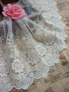 1 yard Beige Color Embroidery Lace Fabric 34cm or 13.4 inch wide Y313. $7.50, via Etsy.