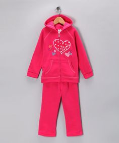 Take a look at this Fuchsia 'Love' Zip-Up Hoodie & Sweatpants - Girls by G Relations on #zulily today!