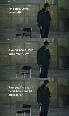 For you JohnLock shippers! Haaaaa #Sherlock BBC #johnlock